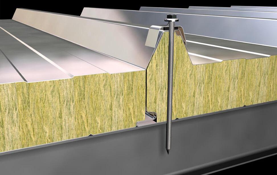 Panel 5 grecas de cubierta ach paneles ach for Panel lana de roca