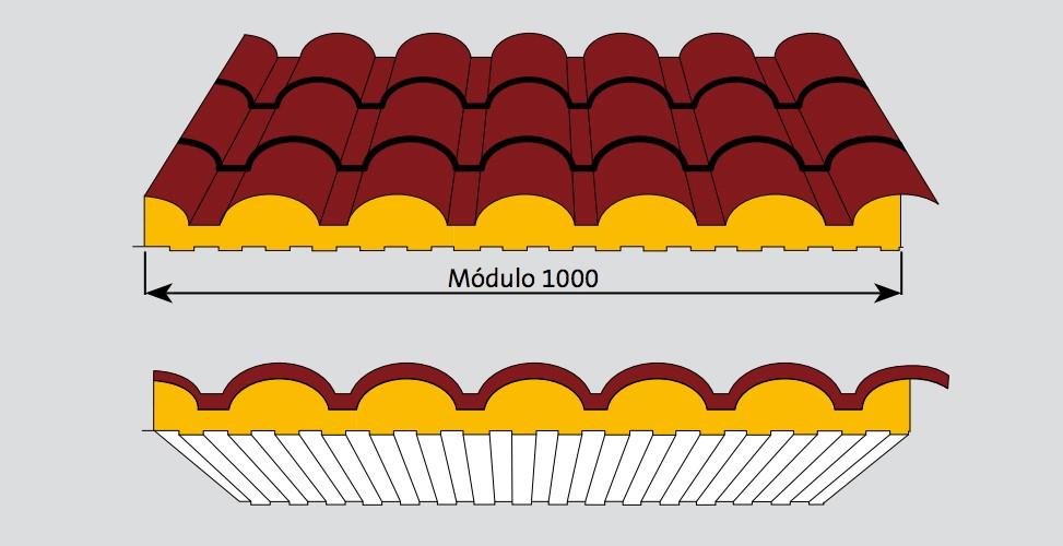 Panel sándwich imitación teja